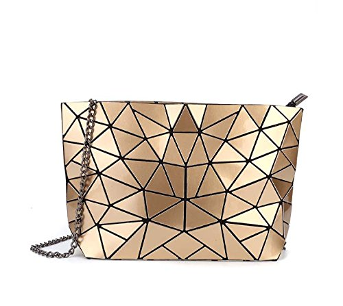 Meoaeo Cadena Geométrica Bolso Bolsa De Cuero De Moda Paquete Xiekua Plateado De Hombro Golden