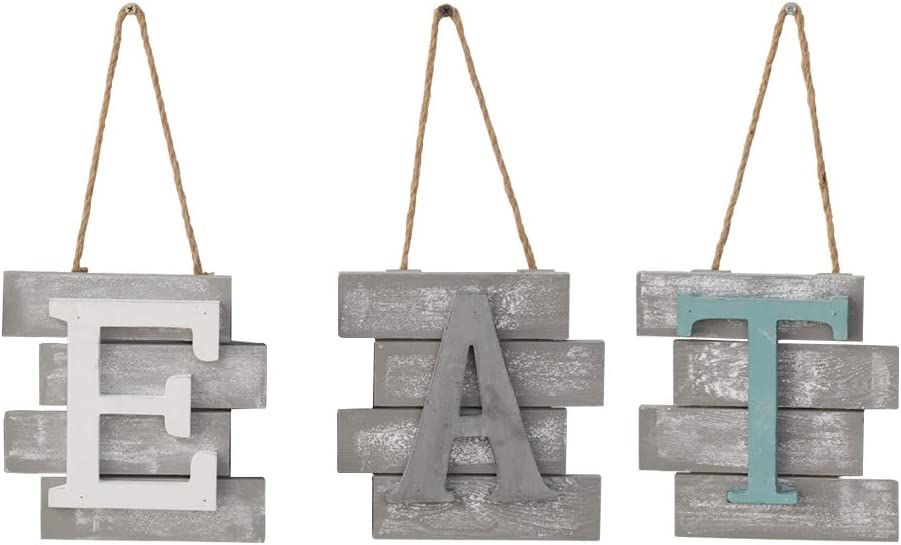 HeyMal EAT Hanging Sign Wall Decor, Rustic Multicolor Wall Decor, Wooden EAT Letters Wall Plaque Decoration for Kitchen Living Room, Distressed Brown and White