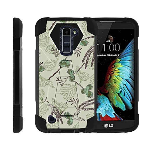 (MINITURTLE Case Compatible w/LG Premier LTE Case   LG K10 Case Dual Layer Shell [Shock Impact] Stand Case Twigs and Leaves)