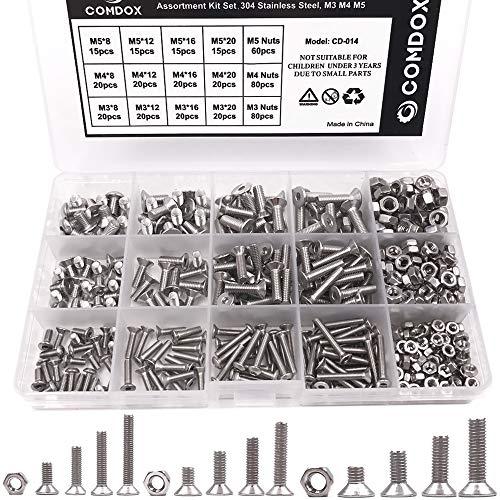- Comdox 500pcs Socket Cap Screws Hex Head Bolt Nuts Assortment Kit Set, Stainless Steel, M3 M4 M5 Thread Size, Full Thread, Countersunk Head, Allen Hex Drive