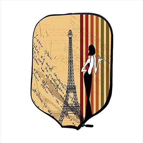 iPrint Neoprene Pickleball Paddle Racket Cover Case,Paris City Decor,Grunge Background Classical Glamor Woman with Cigarette Fashion Pattern Retro Art,Fit for Most Rackets - Protect Your Paddle ()