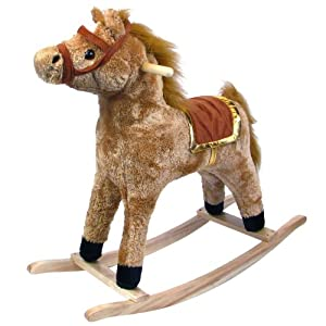 Happy Trails Plush Rocking Horse - Wooden Rocker Ride On