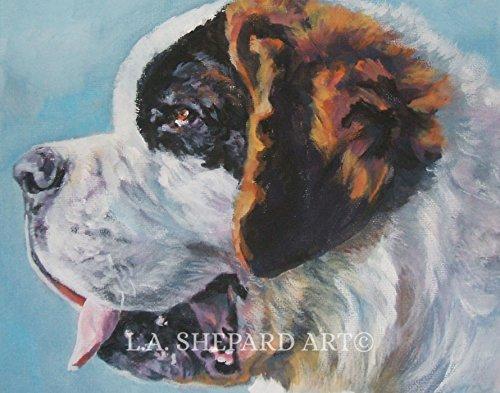 A St. Bernard Dog art portrait print of an LA Shepard painting 11x14
