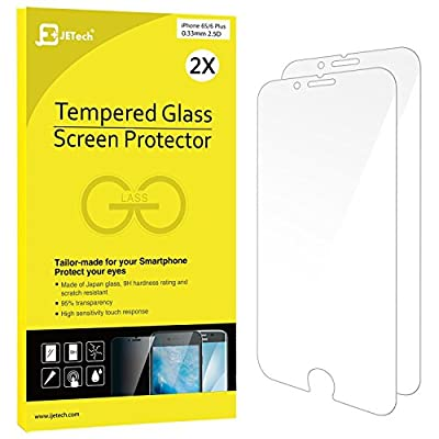 iPhone 6s Plus Screen Protector, JETech 2-Pack Premium Tempered Glass Screen Protector Film for Apple iPhone 6 Plus and iPhone 6s Plus Newest Model 5.5 - 0813