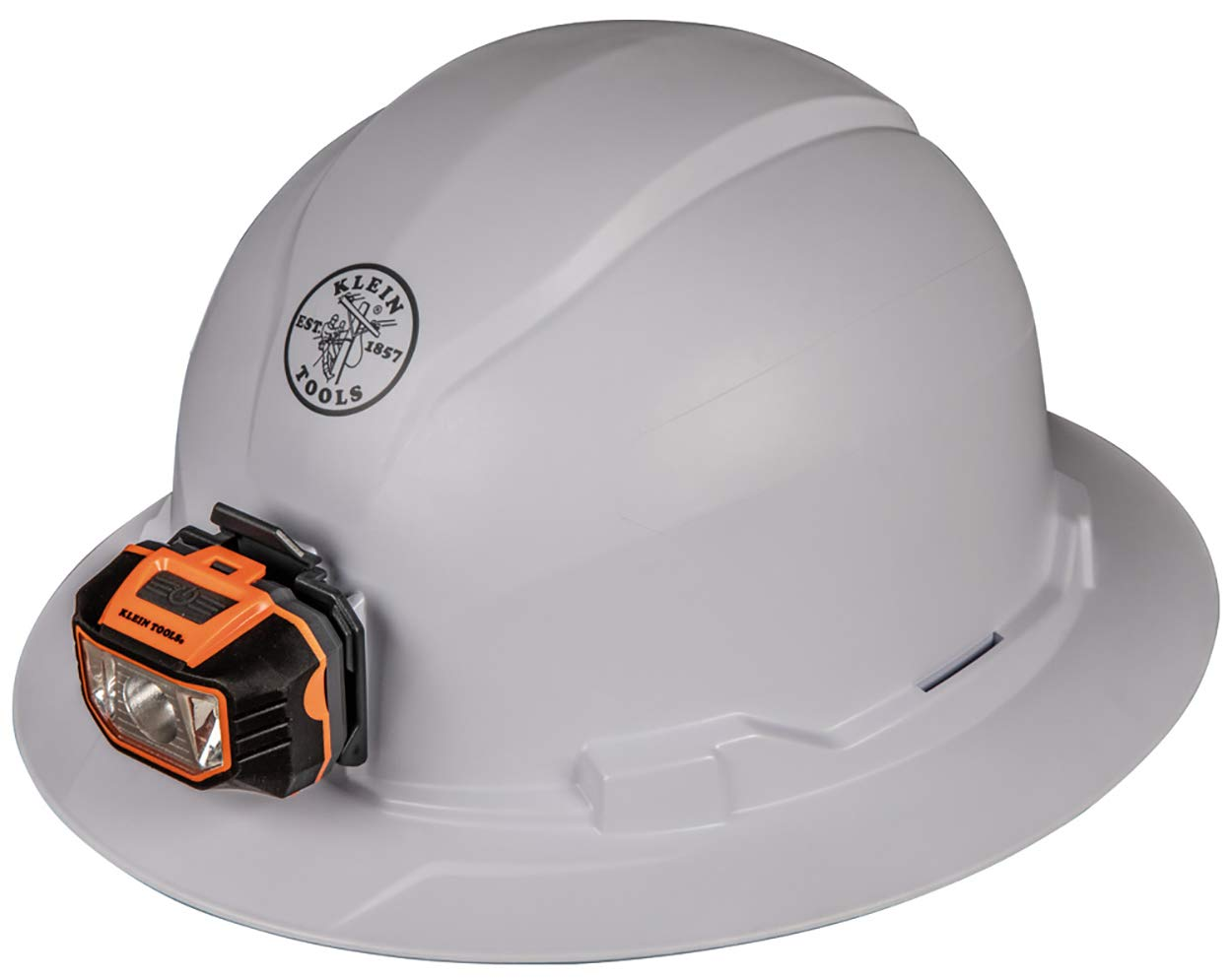 Klein Tools 60406 Hard Hat, Non-Vented Full Brim Style with Light, Padded, Self-Wicking Odor-Resistant Sweatband, Tested up to 20kV, White by Klein Tools