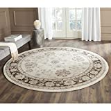 Safavieh Vintage Collection VTG575J Transitional Oriental Ivory and Brown Distressed Round Area Rug (6'7″ Diameter) For Sale