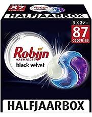 Robijn Black Velvet Wasmiddel 3-in-1 Wascapsules, voor de Donkere en Zwarte Was - 3 x 29 Wasbeurten - Halfjaarbox
