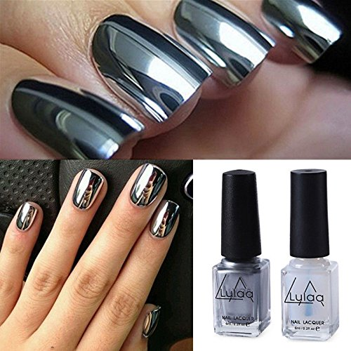 Polish Varnish (Generic 2pcs Silver Metal Mirror Effect Nail Art Polish Varnish & Base Coat DIY Set)