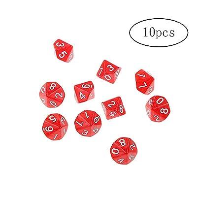 10 echó a un lado los dados Conjunto de varias caras galopantes Dominó Juego de dados irregular del partido Dados poliédrico juego Pub suministros-10Pieces-Rojo: Juguetes y juegos