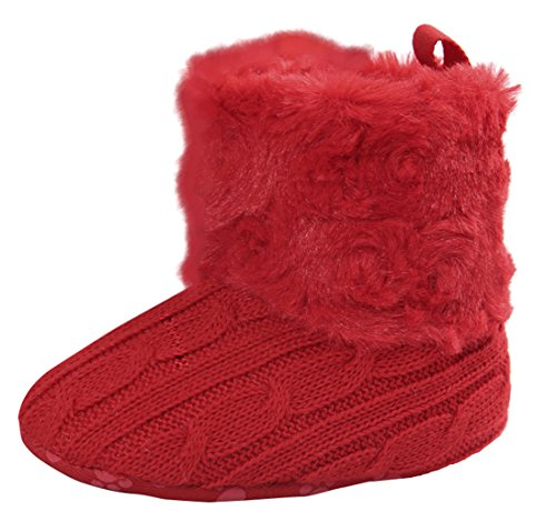 La Vogue Bota Zapatos para Bebés Invierno Primeros Antideslizante Rojo
