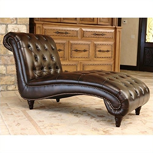 - Abbyson Mirabello Tuft Bonded Leather Chaise Lounge in Brown