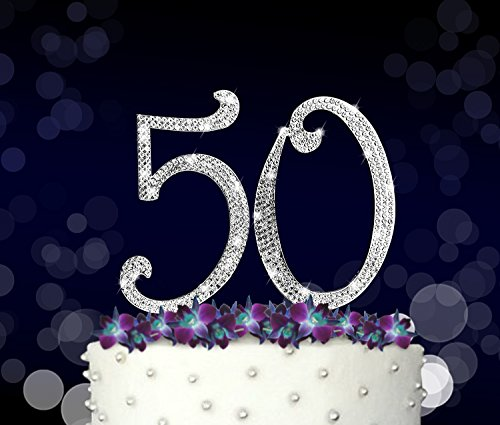 50 50th Happy Birthday Cake Topper Golden Anniversary Vow Renewal Crystal Rhinestones On Silver Metal Party
