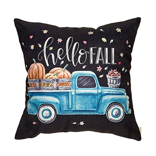 Fahrendom Hello Fall Vintage Truck Harvest Pumpkin Autumn Sign Thanksgiving Day Gift Cotton Linen Home Decorative Throw Pillow Case Cushion Cover with Words for Sofa Couch 18 x 18 in