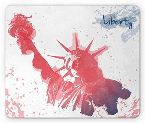 Ambesonne 4th of July Mouse Pad, Watercolor Lady Liberty Silhouette with Paint Splashes Independence, Standard Size Rectangle Non-Slip Rubber Mousepad, Dark Coral Pale Blue