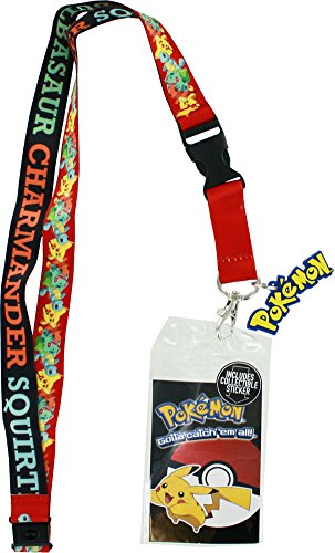 [Pokemon Pikachu, Squirtle, Charmander, Bulbasaur Lanyard with ID Holder, Pokemon Logo Rubber Charm] (Pokemon Character Costumes)