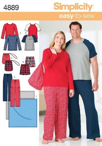 Simplicity Sewing Pattern 4889 Plus Size Unisex Loungewear, AA (S-M-L)