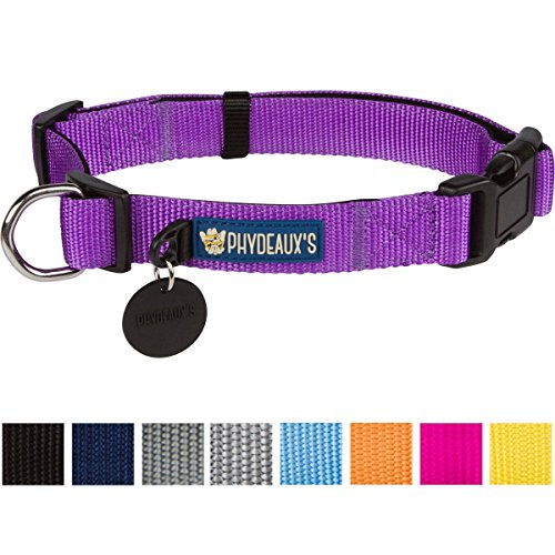 "Phydeaux's Strong 'n Soft Nylon Dog Collar, Purple , Large, Neck 17""-23"", Lifetime Warr"
