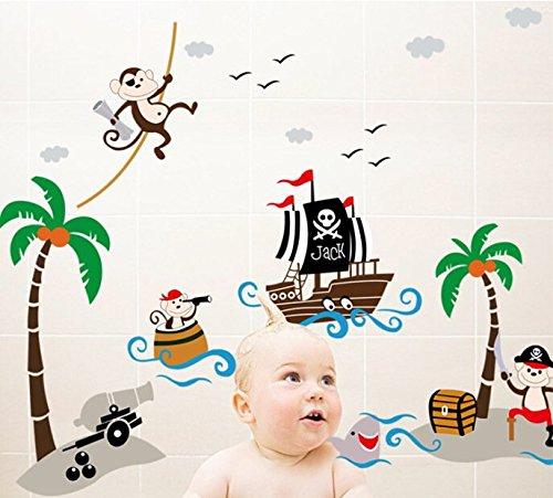 Zooarts Vinilo decorativo para pared ideal para ni/ños dise/ño de monos piratas
