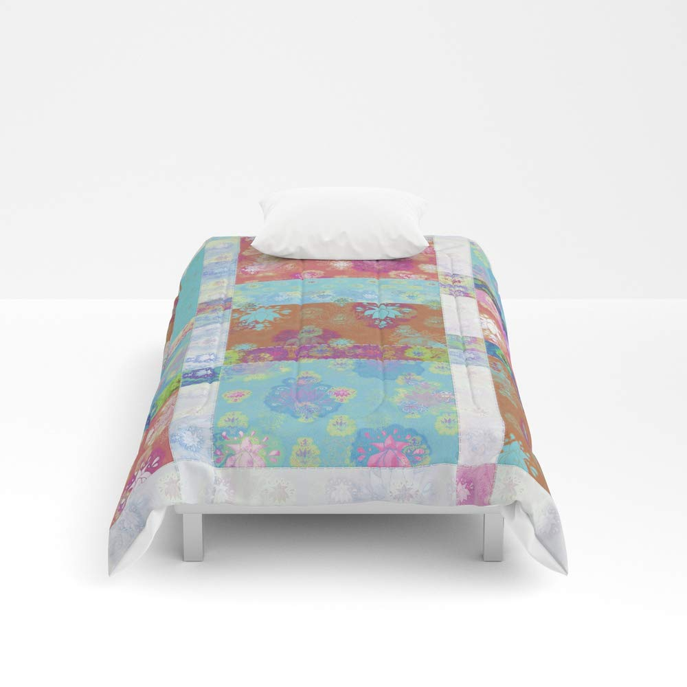 Society6 Comforter, Size Twin XL: 68'' x 92'', Lotus Flower Turquoise and Apricot Stitched Patchwork - Woodblock Print Style Pattern by evalundbergline