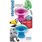 Steripod Kids Toothbrush Protector (2-Pack Pink & Blue Glitter Pods)