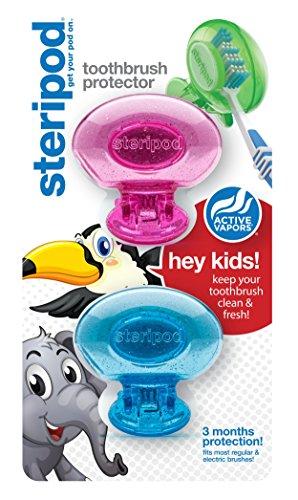 ゴム辛な登場ステリポッド (Steripod) キッズ歯ブラシ プロテクター(2パック ピンク&ブルーグリッターポッド)歯ブラシケース