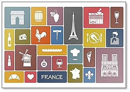 Imán para nevera con diseño de símbolos e iconos de Francia ...