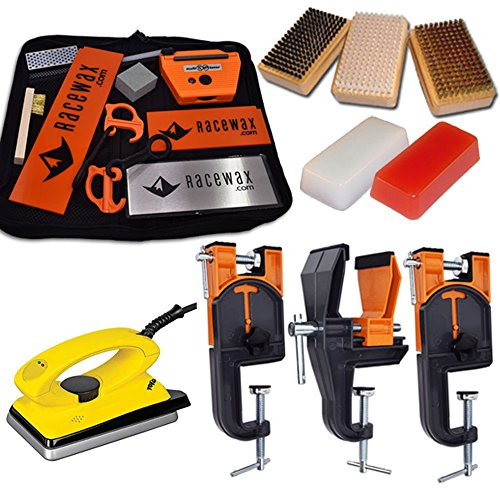 RaceWax Ski Tune+ Race Kit: 3 Piece Vise, Iron, 3 Brushes Tools Wax
