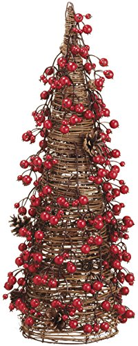 24 Inch Pine Cone and Berry Cone Shaped Christmas Topiary Tree