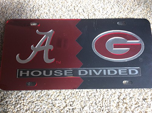 University of Alabama/ University of Georgia House Divided Laser Cut License Plate Tag