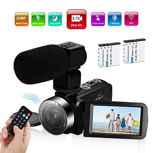 Video Camera Camcorder,Ultra HD 2.7K Vlogging Camera 30FPS 30MP 16X Digital Zoom 3.0 Inch Rotatable WiFi Camcorders with Microphone IR Night Vision&Time-Lapse