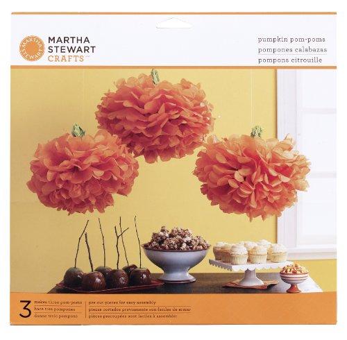 Martha Stewart Crafts Pom-Poms Decor Set, Carnival Pumpkin (Martha Stewart Halloween Decor)