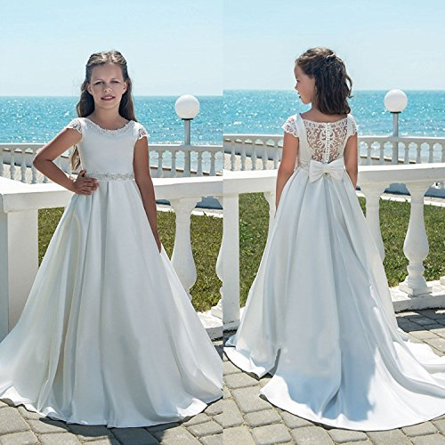 Banfvting Long Flower Girl Dresses With Bow Sashes Lace by Banfvting (Image #3)