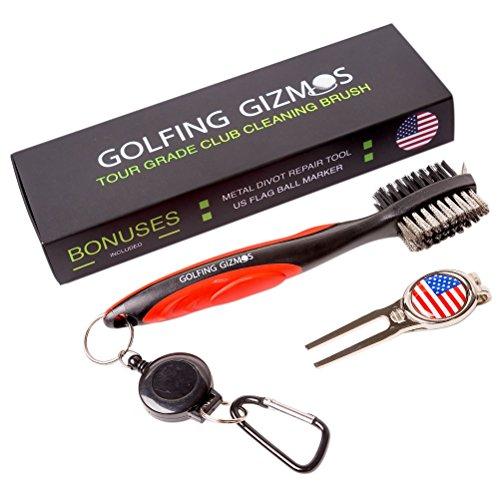 Golf Club Brush Cleaner - Premium Tour Grade and Heavy Duty - Ideal Golf Gift For Golfers - Bonus Golf Divot Tool - Golfing Gizmos - Club Golfers