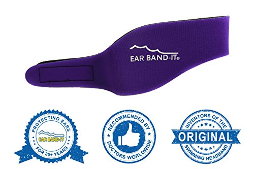 Ear Band-It Swimming Headband - Invented by Physician - Keep Water Out, Hold Ear Plugs in - The Original Swimmer's Headband - Doctor Recommended - Secure Earplugs (Purple, Large (Ages 10-Adult)) (Best Way To Keep Water Out Of Ears While Swimming)