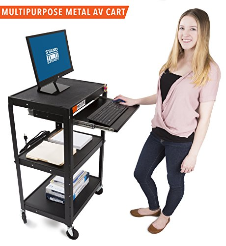 Workstation Cart Mobile Computer Desk (Line Leader AV Cart on Wheels - Includes Three Height Adjustable Shelves & Pullout Keyboard Tray! 15 ft Power Cord with Cord Management Included! Easy to Assemble! (42x24x18) (AV Cart - Black))