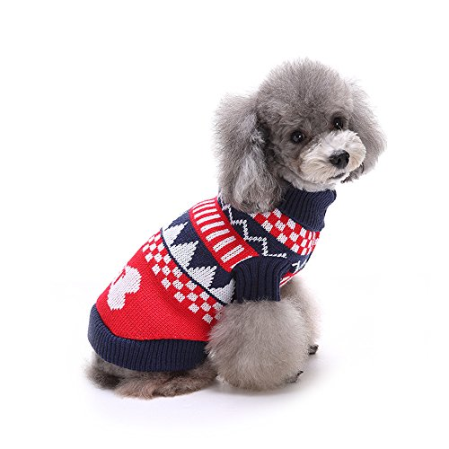 [Spring fever Winter Christmas gift Pet Dog Cat Knitted Sweater Cozy Warm Adorable Clothes Suit Bone Blue S] (Zero Dog Costume Pattern)