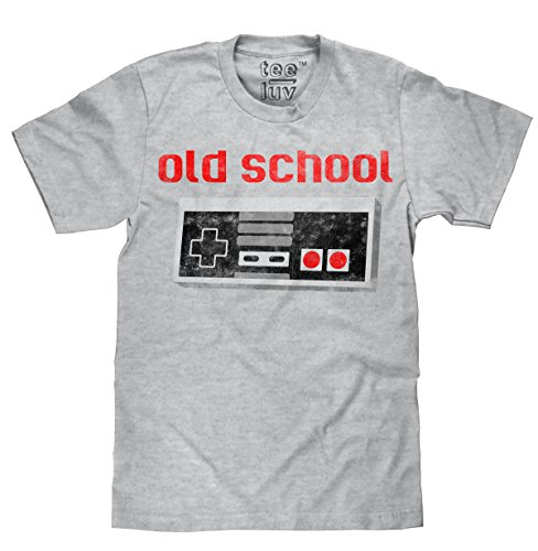 Old School Video Game Novelty T-Shirt  Soft Touch Fabric-Large Grey