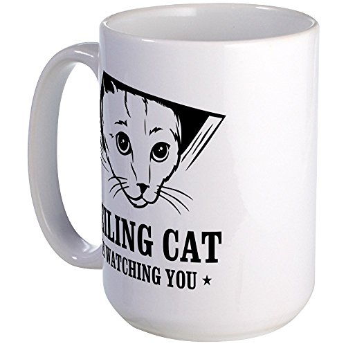 CafePress - Ceiling Cat Is Watching You Large Mug - Coffee Mug, Large 15 oz. White Coffee Cup (Has I Christmas Cheezburger)
