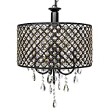 Best Choice Products 4-Light Modern Contemporary Crystal Round Pendant Chandelier w/Classic Antique Finish – Black