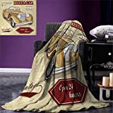 smallbeefly Cars Digital Printing Blanket Vintage Car Rentals Commercial Illustration Print Keys Original Dated Auto Objects Design Summer Quilt Comforter 80''x60'' Tan Red