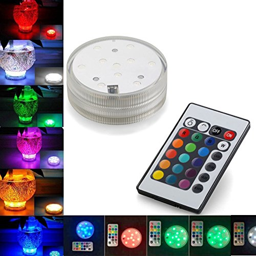Waterproof Submersible Underwater Colour Changing LED Lights Battery Powered LED Light with Remote Control for Wedding, Vase, Party, (Pool Table Aquarium)