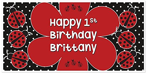 Ladybug Polkadots Personalized Birthday Banner Party Decoration - Personalized Ladybugs Banner Birthday