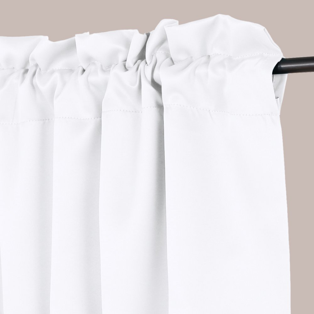 H.VERSAILTEX Privacy Protection Kitchen Valances for Windows Room Darkening Curtain Valances for Bedroom, Rod Pocket Top, 4 Pack, Pure White, 52 x 18 Inch by H.VERSAILTEX (Image #2)