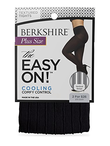 Berkshire Women's Plus Size The Easy On Vertical Stripe Tight, black, ()
