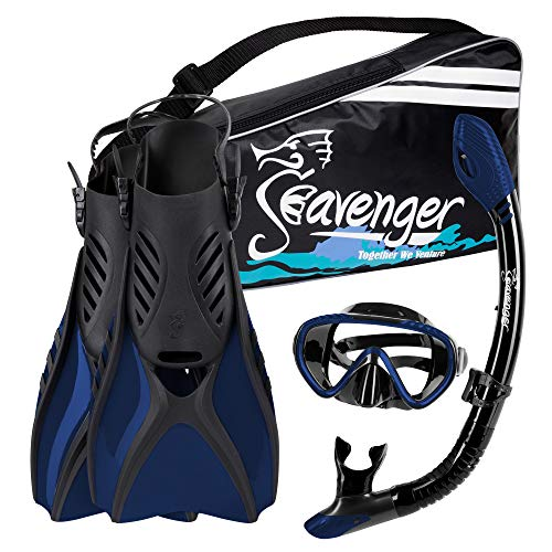 Seavenger Voyager Snorkeling Set | Travel Fins, Snorkel, Mask and Gear Bag for Men and Women (Black Silicone/Midnight Blue, Large)