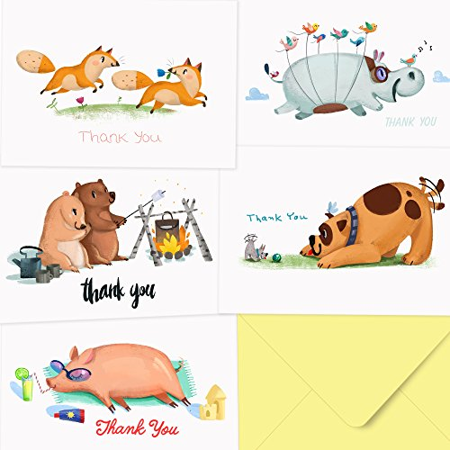Blue Note Favor Set (Thank You Cards - 40 Funny Animal Cards - Thank You Notes for Your Baby Shower, Birthday, Wedding, Graduation - Box Set Note Cards for Adults and Kids)
