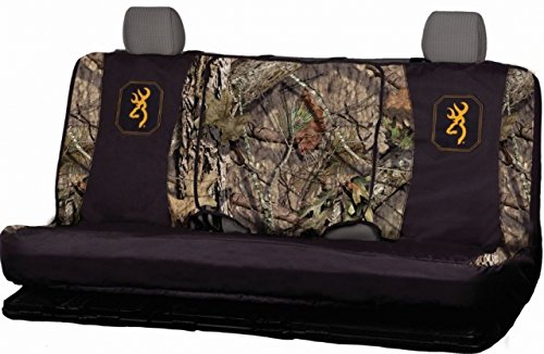 Browning Camo Bench Seat Cover, Mossy Oak Break-Up Country, Gold Buckmark, Mid Size, Bench-Seat Cover with Center Console Access, Water Resistant 600D Polyester