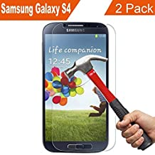 [2 Pack] Galaxy S4 Screen Protector, NOKEA [Tempered Glass] with [9H Hardness] [Crystal Clear] [Easy Bubble-Free Installation] [Scratch Resist] for I337 I545 M919 I9500 L720 (for S4)
