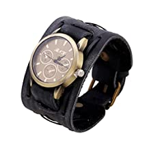 XiaFen Quartz Watch Wide Leather Bracelet Vintage Strap Big Wristwatch Wristband Black Brown