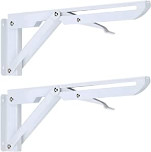 Folding Shelf Brackets, 10 Inch Heavy Duty Metal Triangle Table Bench Collapsible Shelf Bracket Wall Mounted for DIY Bracket, Work Table, Space Saving Max Load 275 lb 2pcs Folding Shelf Hinge